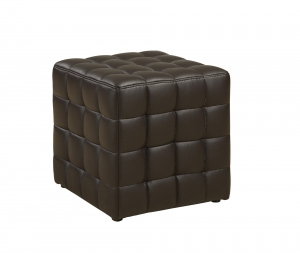 OTTOMAN - DARK BROWN LEATHER-LOOK FABRIC