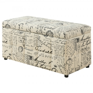 "OTTOMAN - 38""L / STORAGE / VINTAGE FRENCH FABRIC"