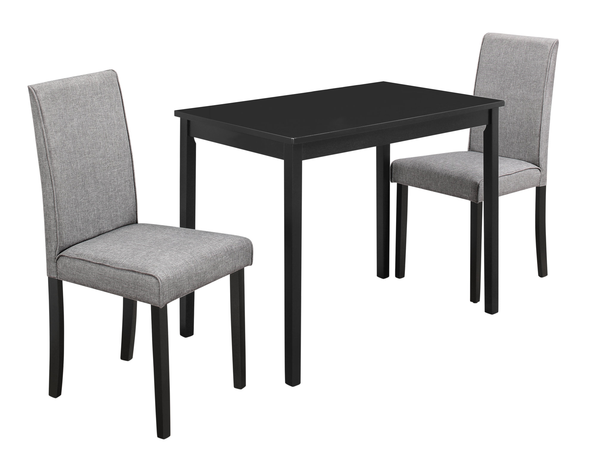 Dining Set 3pcs Set Black Grey Linen Parson Chairs