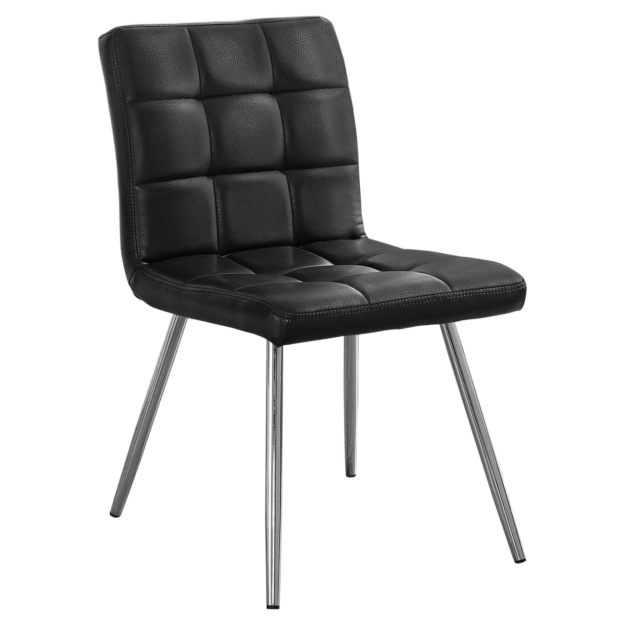 Dining Chair 2pcs 32 H Black Leather Look Chrome Victoria Rose Decor