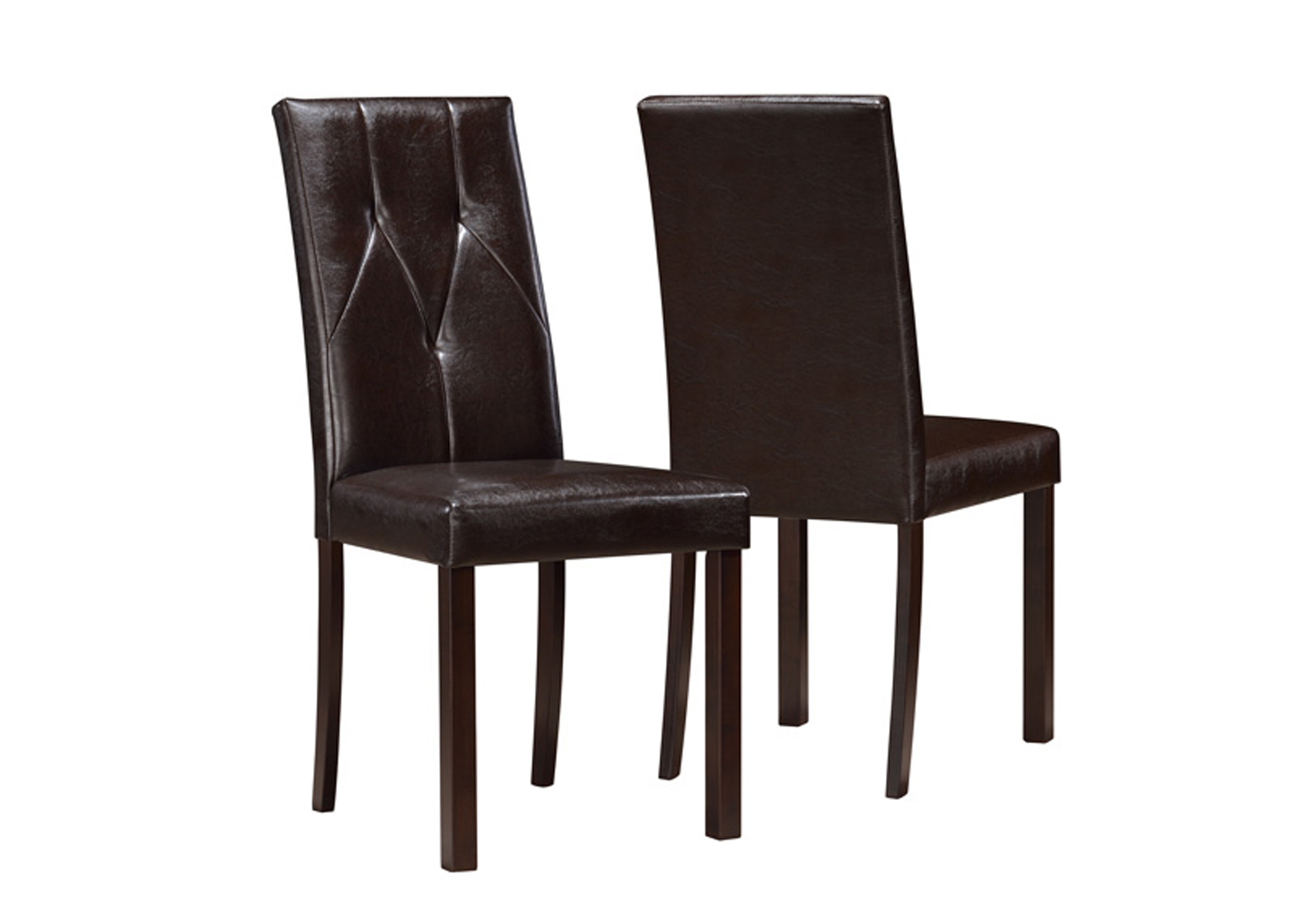 Dining Chair 2pcs 38 H Dark Brown Leather Look