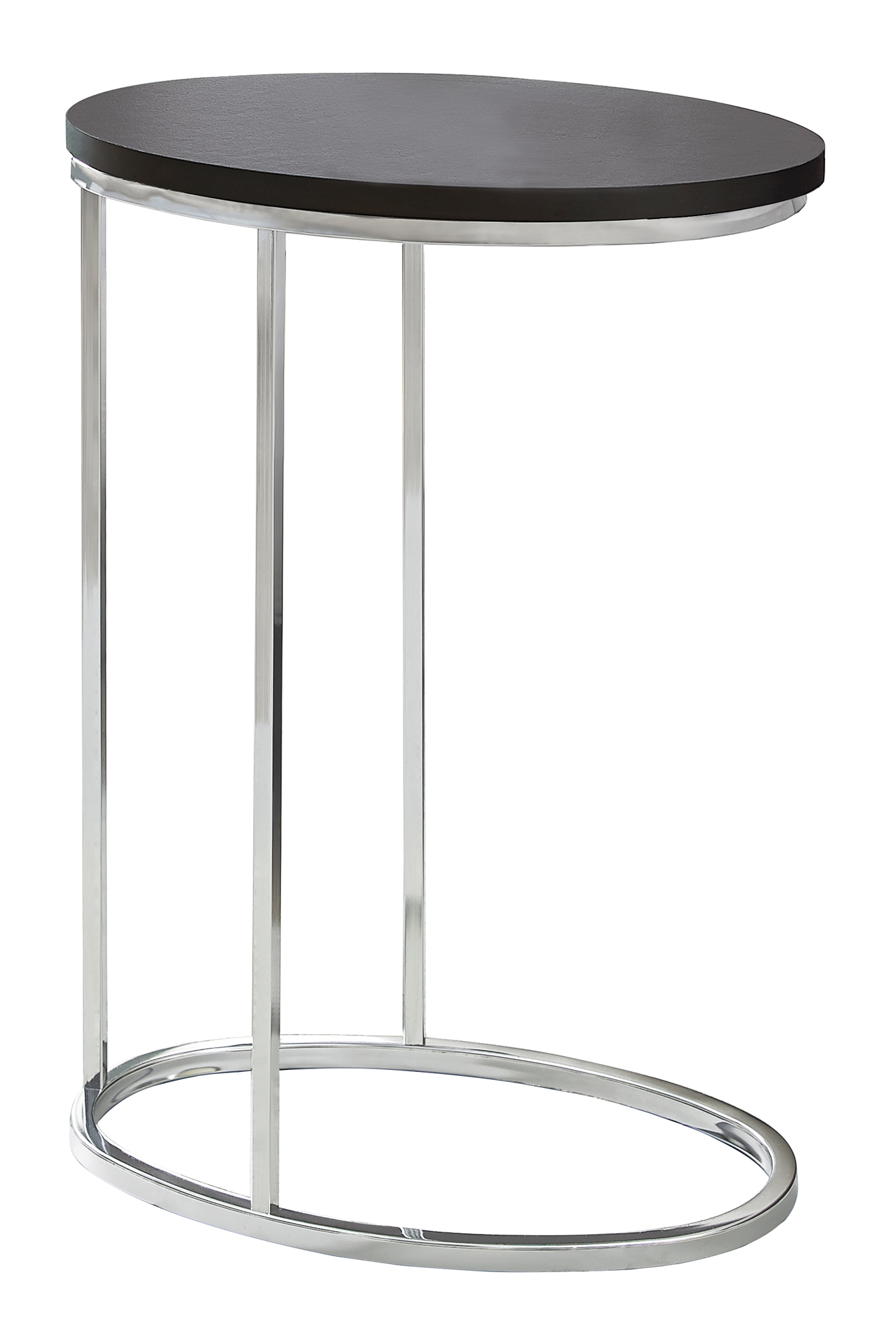 - ACCENT TABLE - OVAL / CAPPUCCINO WITH CHROME METAL - Victoria Rose