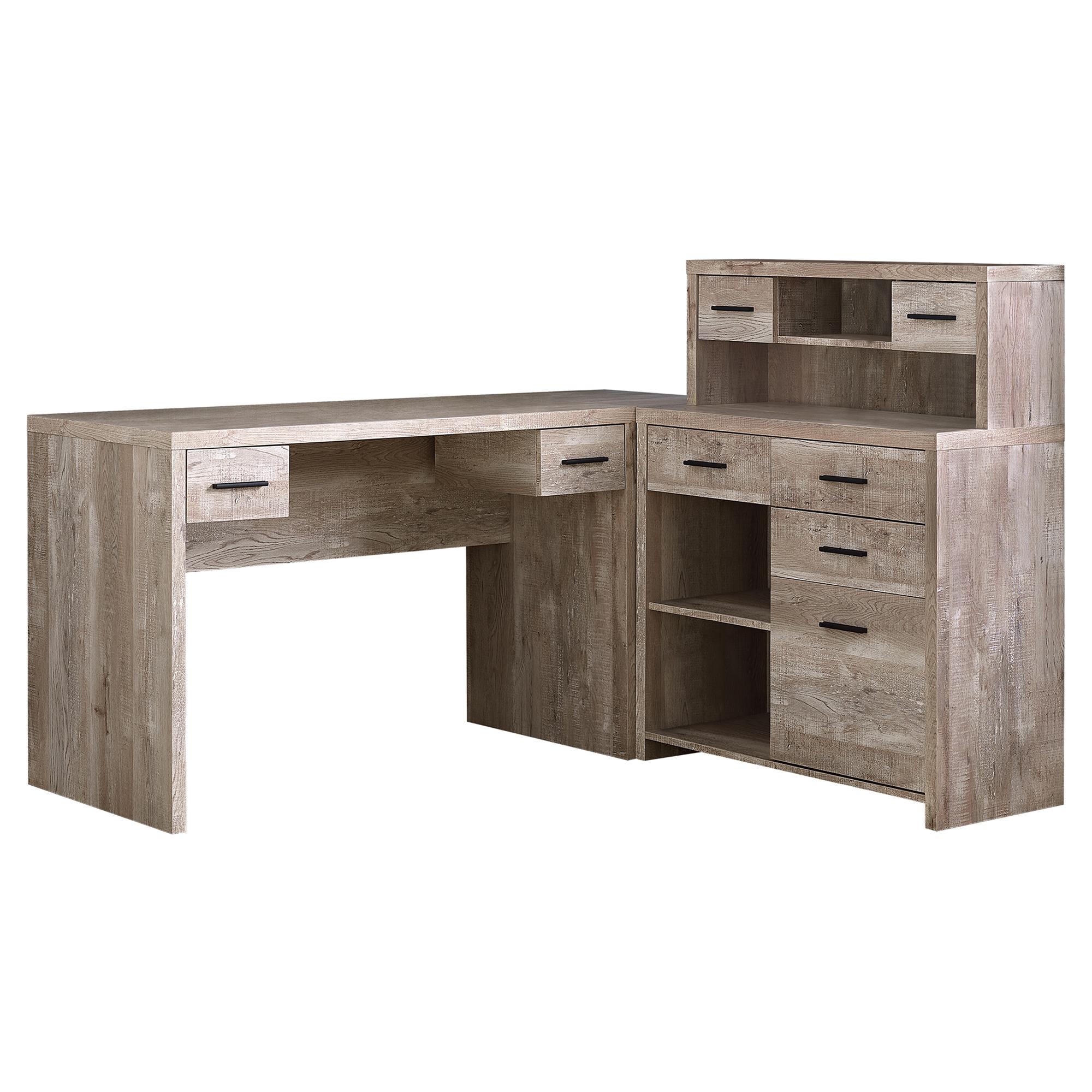 Computer Desk Taupe Wood Grain L R