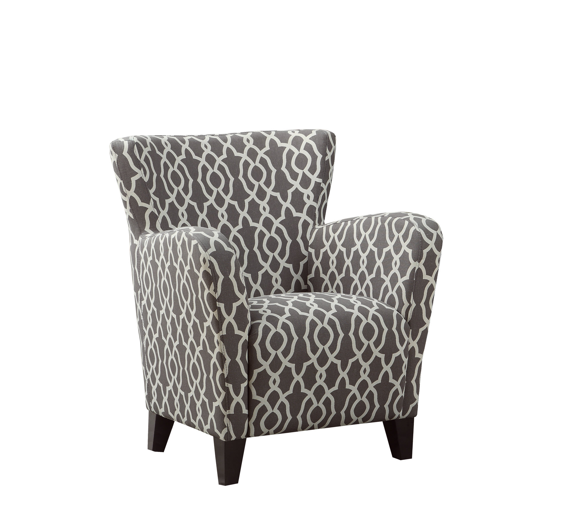 Fantastic Accent Chair Brown Bell Pattern Fabric Dailytribune Chair Design For Home Dailytribuneorg