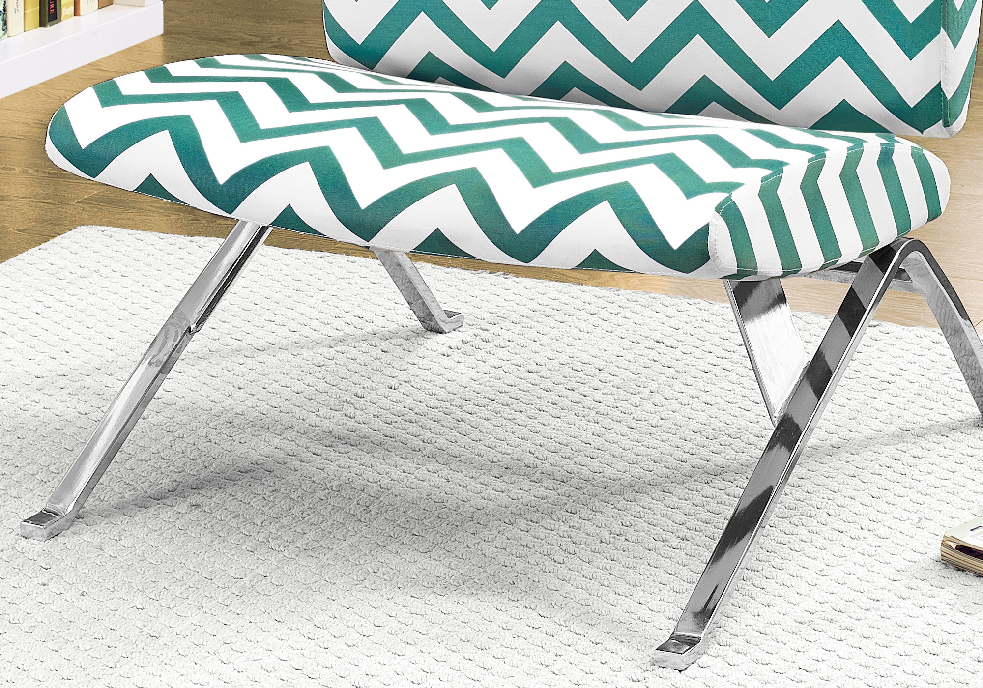Groovy Accent Chair Teal Chevron Fabric Chrome Metal Ocoug Best Dining Table And Chair Ideas Images Ocougorg