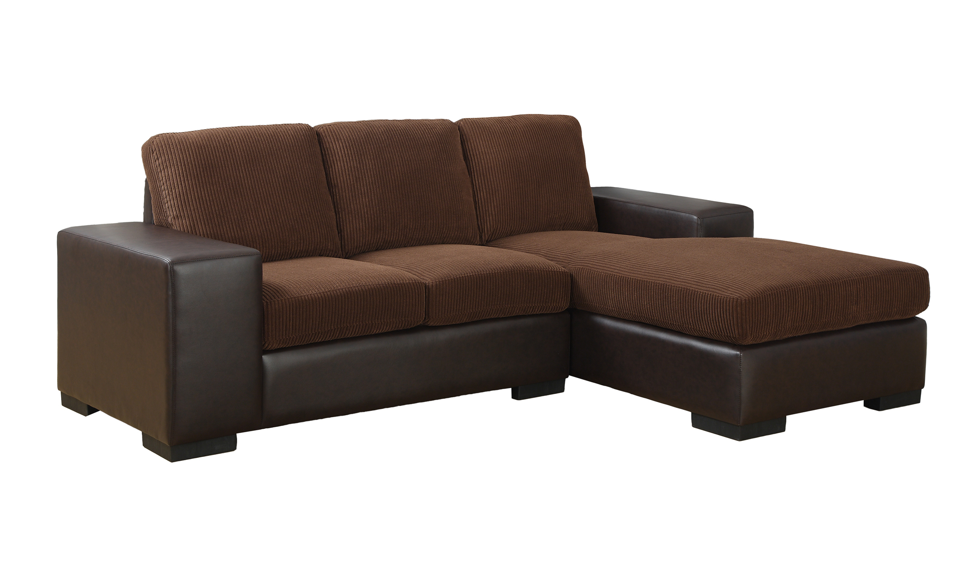 Sofa Lounger Dark Brown Corduroy