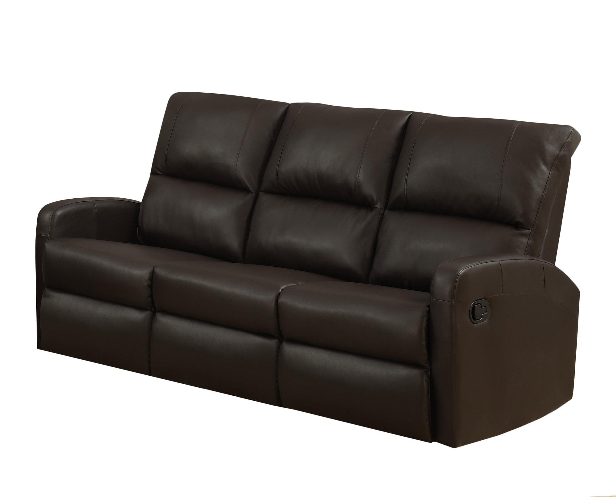 Reclining Sofa Dark Brown Bonded