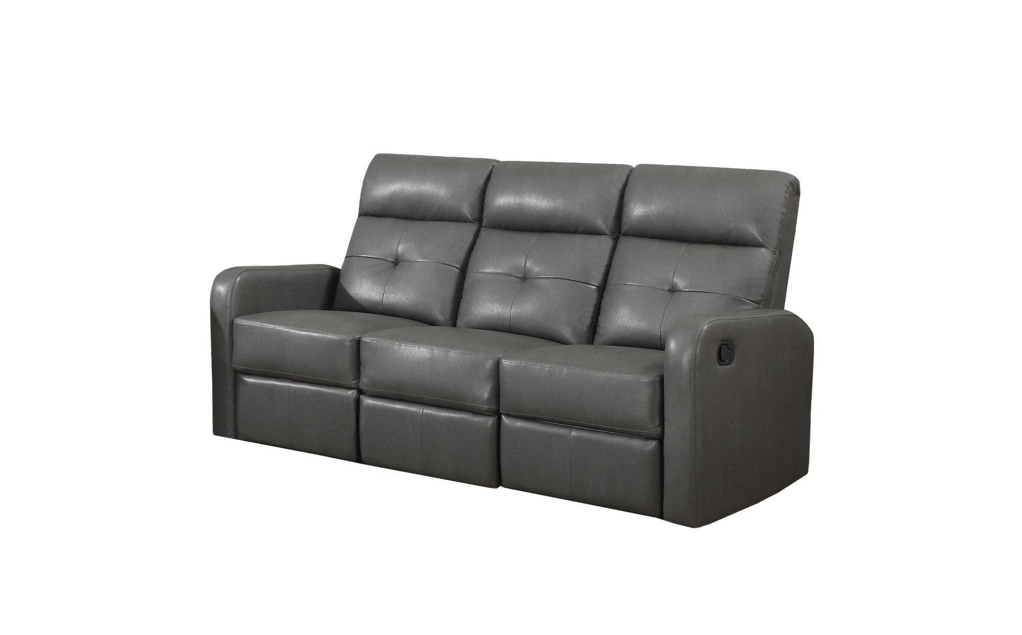 Reclining Sofa Charcoal Grey Bonded